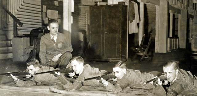 Students in the advanced rifle marksmanship class at the University of Chicago practice shooting in the university's West Stand range. Students in the advanced class, sponsored by the Institute of Military Studies at the time, regularly passed tests for the highest Army small-bore ranking.