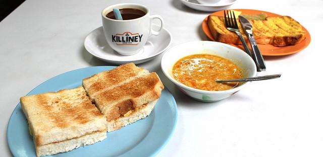 Kaya toast set and French toast at original Killiney Kopitiam on Killiney Road in Singapore