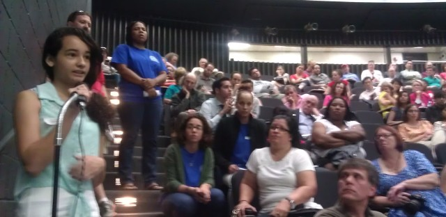 A Lincoln Park High School student speaks to CPS officials about the cuts at her school.