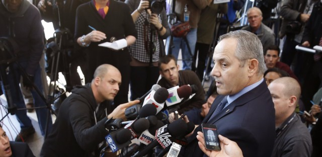 Dean Angelo, Fraternal Order of Police Lodge #7 president, talks to reporters after a bond hearing for Chicago police officer Jason Van Dyke, on murder charges in the killing of 17-year-old Laquan McDonald.