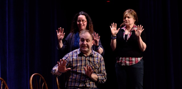 Rachel Mason (left) and Susan Messing (right) perform with Craig Uhlir at a previous Chicago Improv Festival.