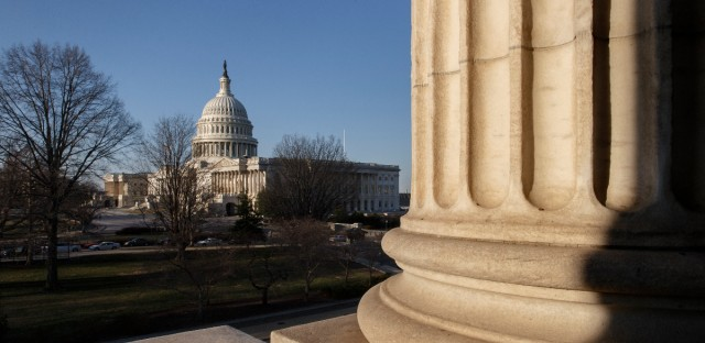 The morning sun illuminates the Capitol in Washington as Congress returns from a district work week, Monday, March 24, 2014.