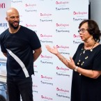 Musician and actor Common and his mother Dr. Mahalia Hines visit the Renaissance School of the Arts as Ambassadors for AdoptAClassroom.org and Burlington Stores on Thursday, July 20, 2017, in New York.