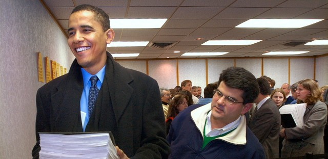 Democrat Barack Obama, left, files petition with the State Board of Elections to get on the March primary ballot for the U.S. Senate Monday, Dec. 8, 2003, in Springfield, Ill.
