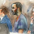 In this courtroom sketch, R&B singer R. Kelly, center, listens in federal court with his attorneys Doug Anton, left, and Steve Greenberg during his arraignment, Friday, Aug. 2, 2019 in New York. Kelly pleaded not guilty to federal charges he sexually abused women and girls. The 52-year-old Kelly was denied bail in a Brooklyn courtroom packed with his supporters.