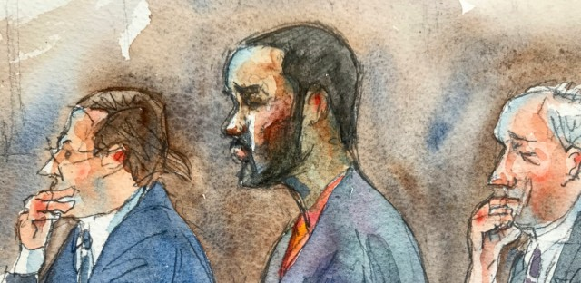In this courtroom sketch, R&B singer R. Kelly, center, listens in federal court with his attorneys Doug Anton, left, and Steve Greenberg during his arraignment, Friday, Aug. 2, 2019 in New York. Kelly pleaded not guilty to federal charges he sexually abused women and girls.