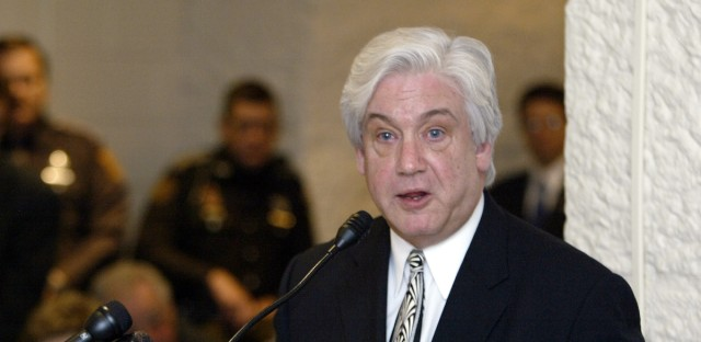 Then-Mayor Scott King of Gary, Indiana speaks at the Statehouse in Indianapolis on Thursday, Feb. 12, 2004.
