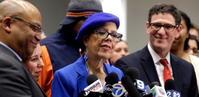 CTU President Karen Lewis takes questions from reporters.