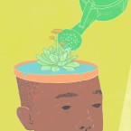 Illustration of the achievement gap shown through the analogy of growing gardens.