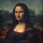 The Mona Lisa by Italian artist Leonardo da Vinci, at the Louvre museum in Paris.