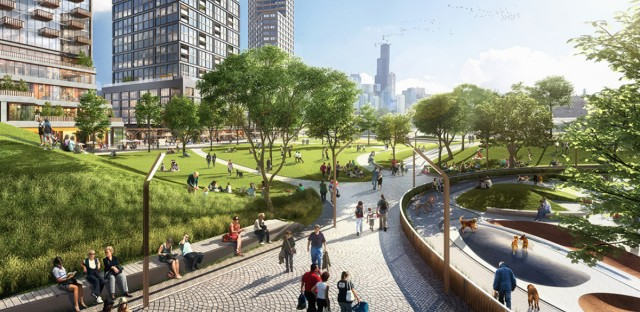 Artist rendering of the Lincoln Yards project.