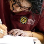 A student completes class work at Noble Street College Prep, one of the 17 high school campus run by the Noble Network of Charter Schools.