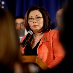 Illinois Senate U.S. Rep. Tammy Duckworth D-Ill., speaks after she won the Democratic nomination for the U.S. Senate against Andrea Zopp, former president and CEO of the Chicago Urban League and state Sen. Napoleon Harris in the Democratic primary, Tuesday, March 15, 2016, in Chicago.
