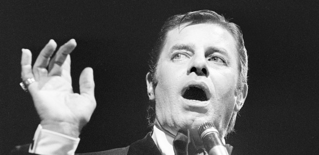 Jerry Lewis performs in Paris in 1976. Lewis, who appeared in dozens of films throughout his career, was perhaps nowhere more critically acclaimed than in France, where he earned the country's highest civilian honor.