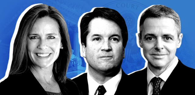 President Trump has whittled down his list of Supreme Court candidates to judges Amy Coney Barrett, Brett Kavanaugh and Raymond Kethledge. He could make his final decision as early as Friday. (Photo: AP, Getty Images, WPPI; Illustration: Renee Klahr/NPR)