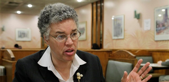 Cook County Board President Toni Preckwinkle speaks during an interview with the Associated Press in Chicago Nov. 23.