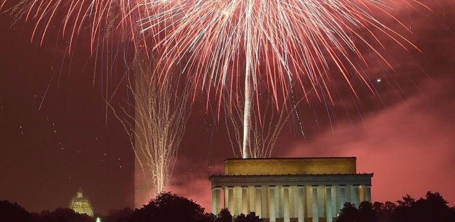 Fireworks explode over the Lincoln Memorial, the Washington Monument and the U.S. Capitol on July 4, 2015. (Mladen Antonov/AFP/Getty Images)