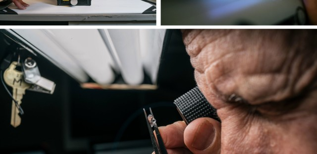 Weinstein uses a selection of equipment to look for lab-grown diamonds, including (from top left, clockwise) a machine built by the De Beers company, ultraviolet light used to check a diamond's glow, and a traditional lupe.