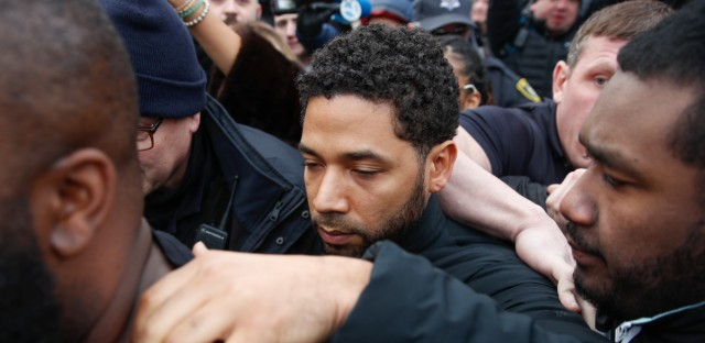 """In this Feb. 21, 2019 file photo, """"Empire"""" actor Jussie Smollett leaves Cook County jail following his release in Chicago. A Cook County grand jury on Friday, March 8, 2019 indicted Smollett on 16 felony charges after authorities say he falsely told police that he was attacked by two men in Chicago."""