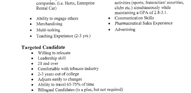 """Resume review guidelines provided by R.J. Reynolds to Kelly Services, which helped screen job applicants. Among the various aspects listed as undesirable is """"in sales for 8-10 years."""""""