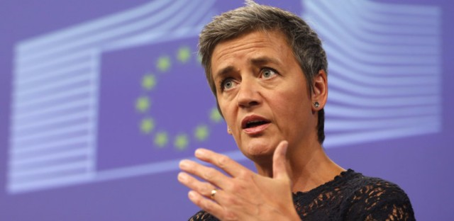 EU Antitrust Commissioner Margrethe Vestager announced a fine against Google over the way it ranks shopping services in its search results. She's seen here last summer.