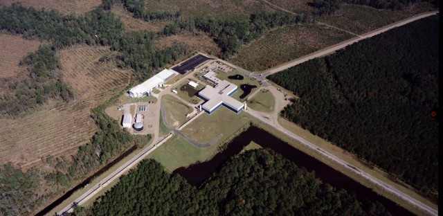 The Laser Interferometer Gravity-Wave Observatory measures tiny changes in the length of its 2.5-mile-long arms. There are two detectors: one in Washington state and one in Louisiana (pictured).