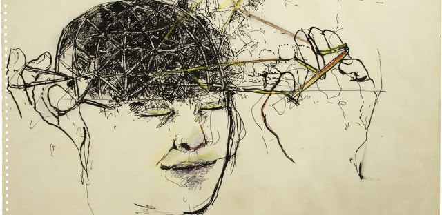 <em>Head</em>,<em> </em>by June Leaf, 1975. Pen and ink and colored pencil on paper, 13 7/8 × 19 7/8 in. Collection of the artist.