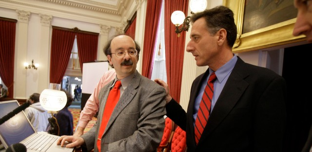 Amory Lovins of the Rocky Mountain Institute, left, meets with President Pro Tem Peter Shumlin before he addresses the Vermont Legislature in Montpelier, Vt., Thursday, Jan. 11, 2007. Leading lawmakers through a computerized presentation Thursday, an international expert on global climate change said state government can take a number of steps to reduce Vermont's greenhouse gas emissions this winter and spring. Lovins said the state could build on its existing reputation as an environmental leader in a number of ways.
