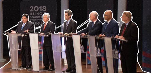 The Illinois Democratic gubernatorial candidates participated in a live public forum on Thursday hosted by WBEZ, Politico, and the University of Chicago Institute of Politics. (Photos courtesy of University of Chicago Institute of Politics / Photo illustration by Paula Friedrich/WBEZ)