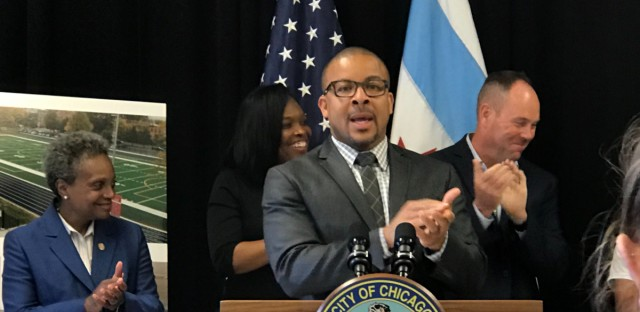 Michael Scott, head of the City Council Education Committee, speaks on Thursday, Aug. 8 as Chicago Public Schools unveils its new budget.