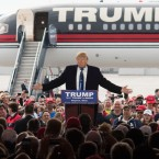 Republican presidential candidate Donald Trump speaks to attendants at a campaign rally on March 12, 2016 in Vandailia, Ohio, the first rally after violence broke out at a Trump rally in Chicago, which canceled the rally.