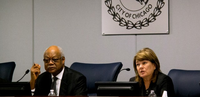 CPS Board of Education President Frank Clark (left) announced that the district's law department will no longer have purview over recent cases of sexual misconduct.