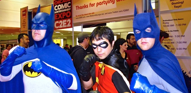 Two Batmans and a Robin at C2E2 2011.