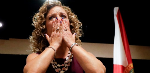 DNC Chairwoman, Debbie Wasserman Schultz, D-Fla., greeted the Florida delegation at a breakfast, Monday, July 25, 2016, in Philadelphia, during the first day of the Democratic National Convention.