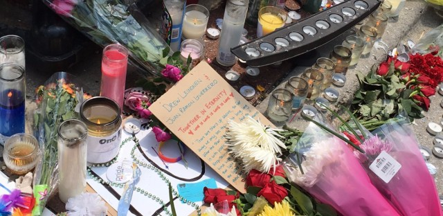 A memorial for those killed in Orlando on Halsted Street in the Boystown neighborhood.