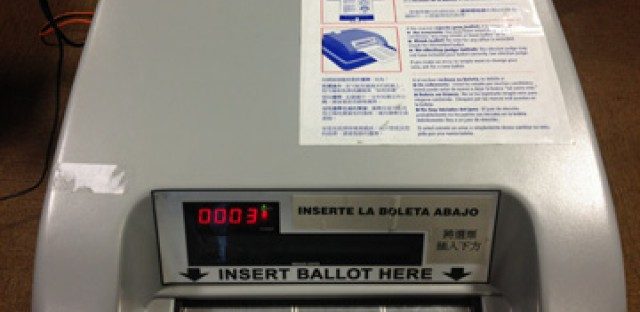 The Optech scanner is used to scan paper ballots in Chicago elections.