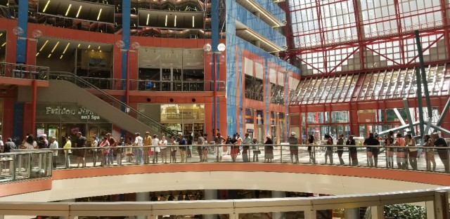 Lotto winners standing in line to claim prize money at the James R. Thompson Center in Chicago.