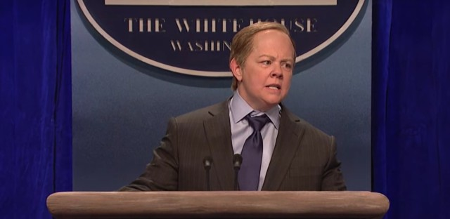 Melissa McCarthy portrays Press Secretary Sean Spicer in a sketch on this week's episode of Saturday Night Live.