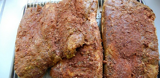 Moose ribs with dry rub in Alaska
