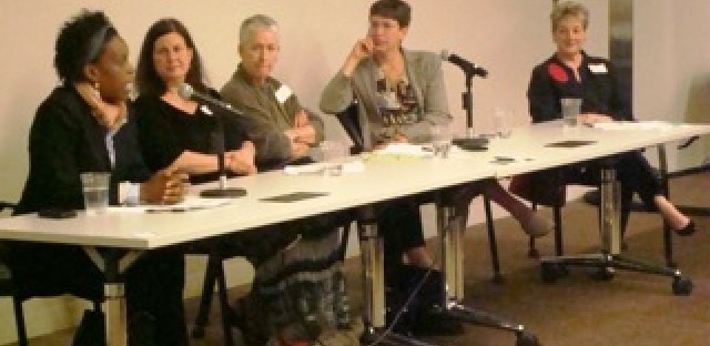 From left to right: Dr. Melissa Gilliam, Jane Ramsey, Anne Ladky, Sheila Simon, and Anne Oppenheimer
