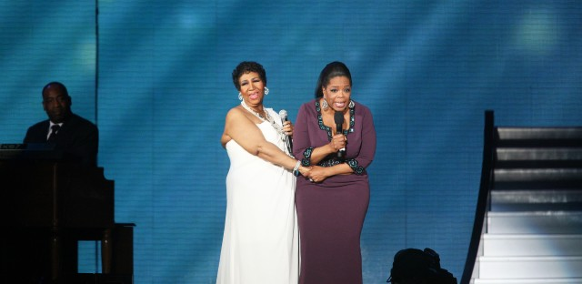 Franklin with Oprah Winfrey during the taping of the second to last Oprah Winfrey Show in 2011.