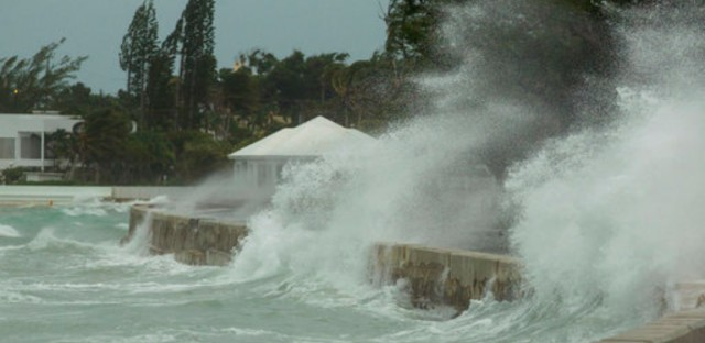 Rough seas flood a seawall on the eastern end of Nassau, Bahamas, Saturday, Sept 9, 2017, as Hurricane Irma moves along the coast of Cuba.