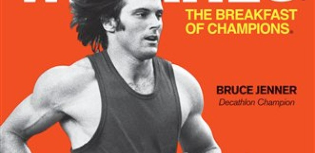 Former Olympian Bruce Jenner graces the cover of this retro Wheaties box.