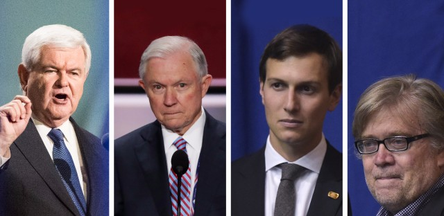 Former House Speaker Newt Gingrich, Sen. Jeff Sessions of Alabama, Trump's son-in-law Jared Kushner, and Trump campaign CEO Stephen Bannon have all been mentioned as possibilities for major roles in the president-elect's administration.