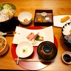 Japanese dishes are served on a table for dinner at Japanese restaurant Irimoya Bettei in Tokyo.