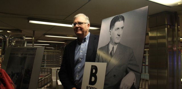 The CTA gave Peter Boesen a poster designed like vintage train signs to honor his grandfather Peter J. Boesen. Peter J. Boesen was the chief engineer for the State Street subway and studied train systems in cities like Toronto.