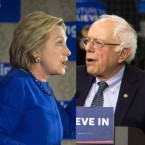 Hilary Clinton and Bernie Sanders split-screen photo illustration