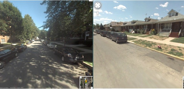 A Google Streetview comparison of two neighborhoods with different amounts of canopy cover.