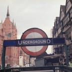 Kingsway in London, England in 1971 with the large sign marking the entrance to the Chancery Lane Underground subway station.