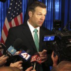 Kansas Secretary of State Kris Kobach, seen earlier this month, says he is among the state officials who isn't able to provide all the voter identification details the national commission he vice-chairs is seeking.
